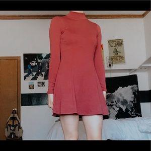 Long Sleeve High Neck Skater Dress